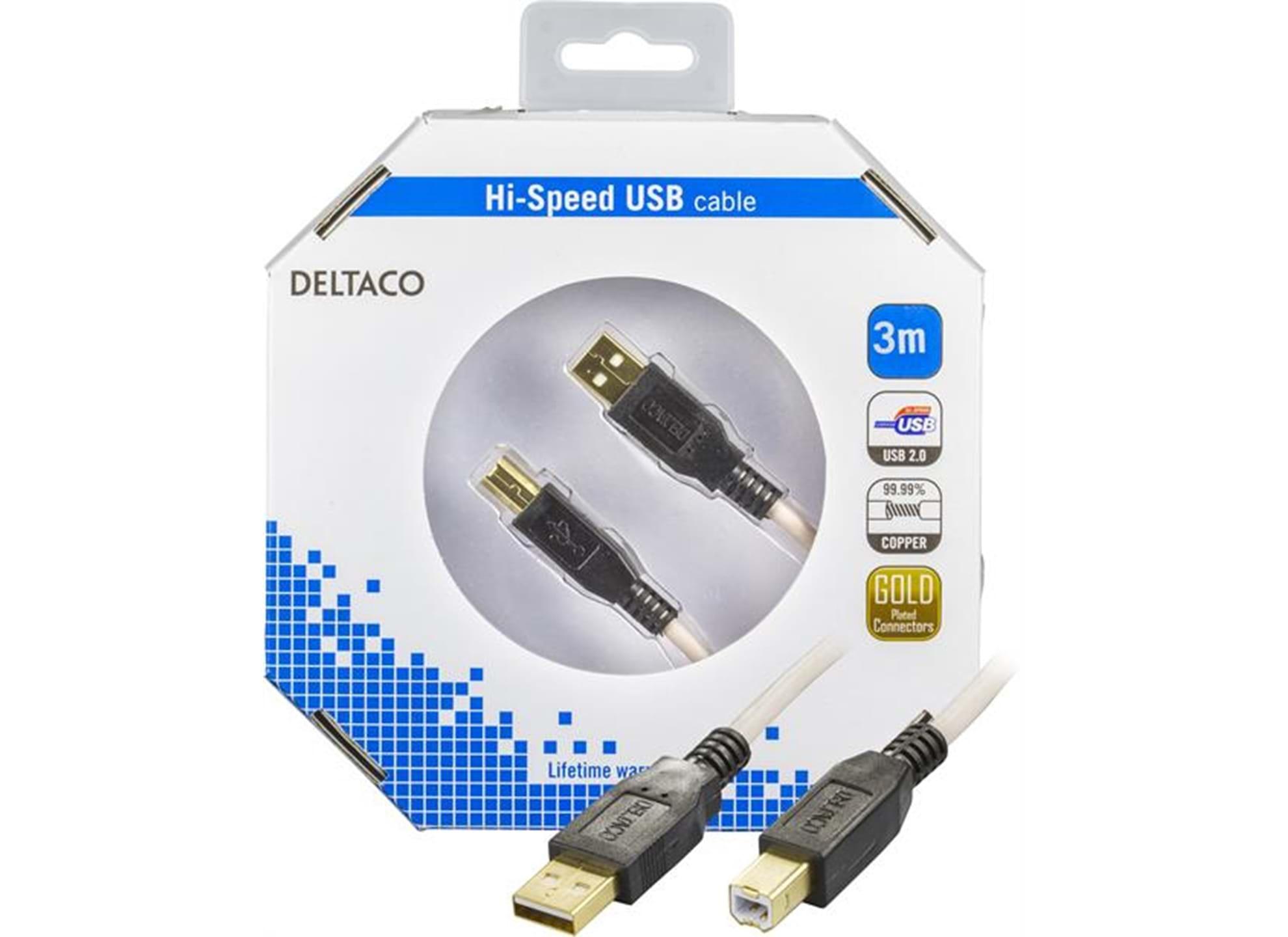 USB 2.0 kabel Typ A hane - Typ B hane 3m guldpläterad kontakt