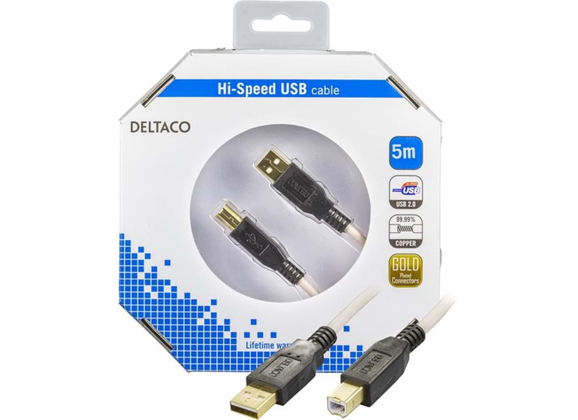USB 2.0 kabel Typ A hane - Typ B hane 5m guldpläterad kontakt