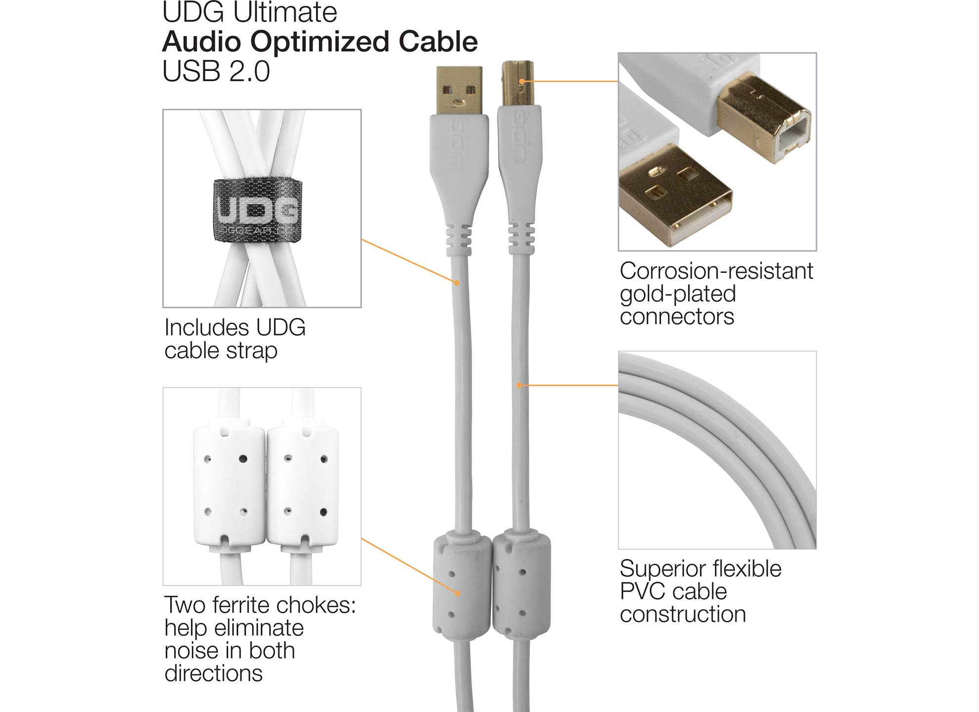Ultimate USB 2.0 A-B White Straight 1m