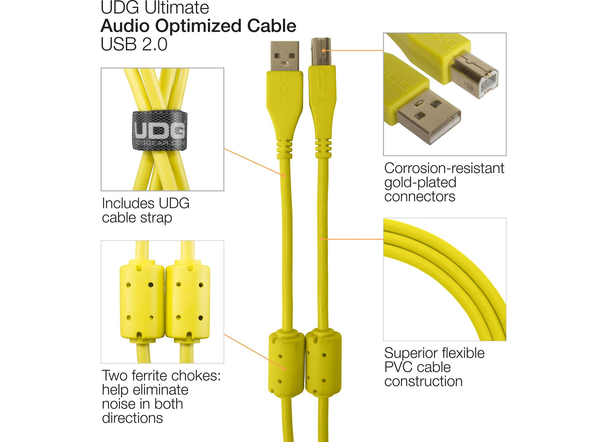 Ultimate USB 2.0 A-B Yellow Straight 1m
