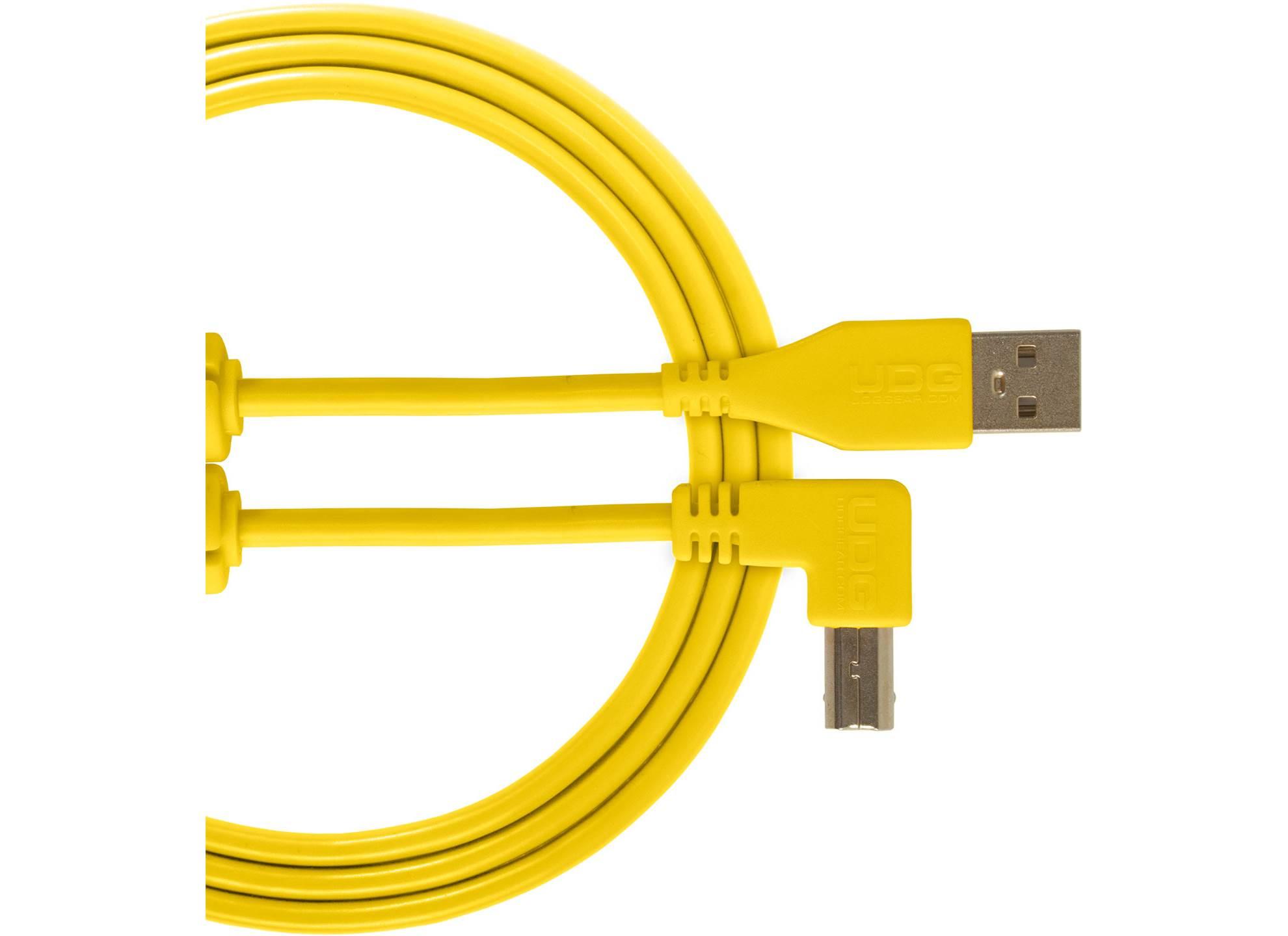 Ultimate USB 2.0 A-B Yellow Angled 2m